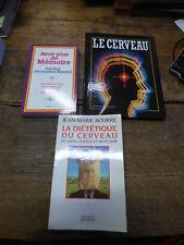 lot de 3 livres sur le cerveau , la mémoire  : la diététique du cerveau