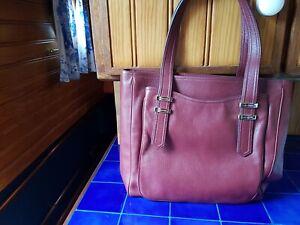 Genuine Burgundy Leather Lancel Tote Handbag/Laptop Bag. Brand New