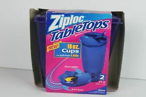 Ziploc TableTops Cups w/ Spill-Proof Lid 18 oz Drink Spout Straw Holder New
