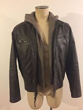 Calvin Klein Men's Brown Faux Leather Moto Jacket with Hoodie Medium NEW $225