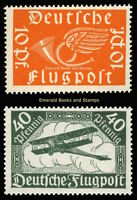EBS Germany 1919 Airmail Flugpost Biplane set Michel 111-112 MNH**