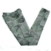 Flip Side Juniors Reversible Skinny Jeans Size 3 Army Green n Gray Camouflage