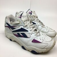 Vintage 90s Reebok Athletic Training Sneakers White/Purple/Blue Women's Size 9