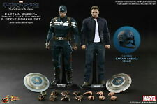 1/6 Hot Toys Captain America and Steve Rogers Deluxe Set, MMS243, 2 Figures New