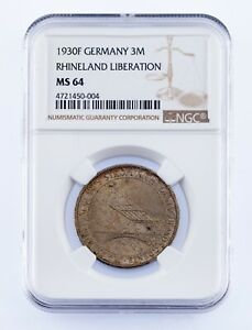 1930-F Germany 3 Mark Silver Coin Rhineland Liberation Graded by NGC as MS-64