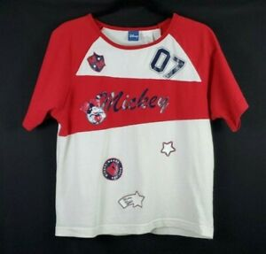 Disney Mickey Mouse Short Sleeve Shirt Jersey TShirt Red White Women's Size 16W