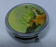 Metal Pill Box with Cat Picture