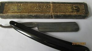 OLD CUT THROAT RAZOR BOXED CROWN SWORD MADE IN GERMANY ERN 1935 BLADE ETCHED