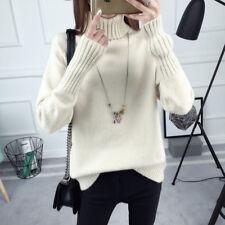 Women Jumper Sweater Turtle Neck Loose Pullover Knit Winter Fall Warm Black