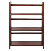 """3-Shelf Folding Stackable Bookcase 27.5"""" Wide-Walnut"""