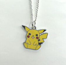 Pokemon pikachu necklace silver plated chain 18 inch