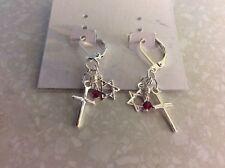 Cross & Star of David earrings, sterling silver lever back, Smaller Version.