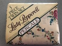 NIP Vintage Lady Pepperell Percale 3 Pc Twin Set Fitted Flat Pillow Case