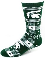 Michigan State Spartans NCAA Green White Quilt Plaid Crew Socks