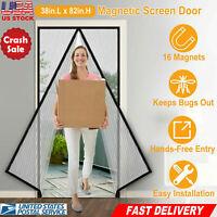 """Magnetic Screen Door Mosquito Net Polyester Mesh Curtain Fit 38"""" x 82"""" Doors"""