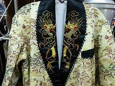 Awesome Smoking Jacket  Embroidered Collar - Oriental Dragon Motif Smoking Robe