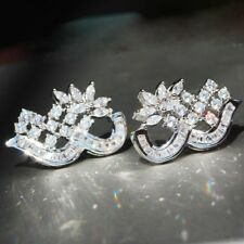 1pair Woman's White Sapphire Long Ear Stud 925 Silver Filled lovers earrings
