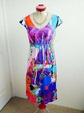 DESIGUAL White Blue DRESS Size M 12 BNWOT NEW Pleated Stretch Pink Orange Retro