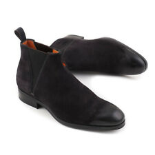 NIB $895 SANTONI Black Suede Chelsea Ankle Boots with Waxed Detail US 7 Shoes