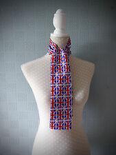 Union Jack flag scarf, UK flag skinny scarf, patriotic mod scarf, UK flag bow