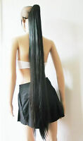 """48""""/120cm Clip on Black Straight Hairpieces Ponytail Cosplay Wig Halloween Hair"""