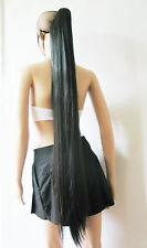 "48""/120cm clip on black straight hairpieces Synthetic extension ponytail CW78"