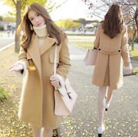 Women's Fashion Warm Blend Thicken Coat Slim Fit Jacket Korean woolen coat