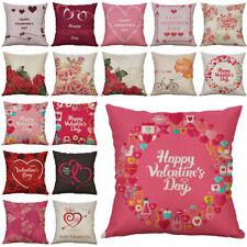 Pillow Linen Case Sofa Day Valentine's Cotton Cover Decor Cushion 18'' Home