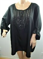 Millenium Women Plus Size 2x 3x Black Silver Tunic Top Blouse Shirt Hi Lo