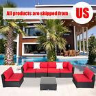 7 Pcs Patio Wicker Sofa Set Sectional Garden Furniture Pe Rattan Lawn Poolside
