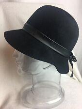"Vintage Henry Pollak Womens Bucket Hat 100% WOOL Black Ribbon Supra Felt 21"" USA"