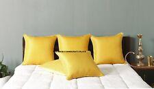 """16"""" Yellow Gold Pillow Cushion Cover Silk Brocade Sofa Throw Indian Home Decor"""