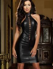 Dress Womens Black Faux Leather Lace_Up Front Role Play Dominatrix Club  L New