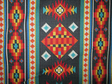 Navajo Native American Beaded Like Floral Black Border Print Cotton Fabric BTHY