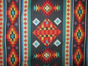 Navajo Native American Beaded Black Border Print Cotton Fabric 4 1/2 Inch Scrap