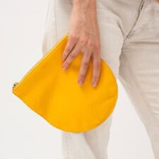 BAGGU HANDMADE OVERSIZED POUCH WITH NATURAL MILLED LEATHER BRASS ZIPPER SAFFRON