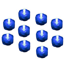 Submersible Waterproof Battery LED Tea Light ~ Wedding Decoration~Blue ~ 10 Pack