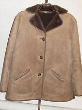 WOMEN'S VINTAGE SHEEPSKIN LEATHER COAT! SUEDE EXTERIOR! GREAT BRITAIN!  12-14