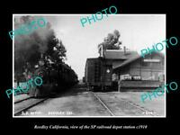 OLD LARGE HISTORIC PHOTO OF REEDLEY CALIFORNIA, SP RAILROAD DEPOT STATION c1910