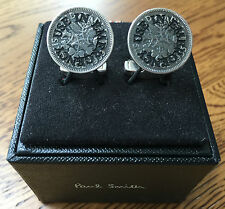 PAUL SMITH ANTIQUE SILVER TONE VINTAGE ENGLISH SIXPENCE COIN CUFFLINKS BNIB