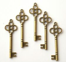 10 Skeleton Antique Bronze Key Charms 46mm Wedding Santa (TSC49)
