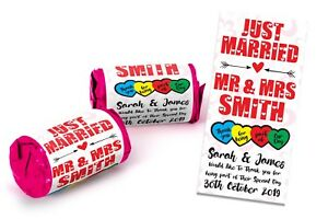 Personalised Mini Love Hearts Sweets Wedding favours Just Married Table Gifts #8