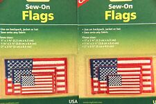 2 SETS OF 3 AMERICAN SEW ON FLAGS 3 SIZES WASHABLE-COLORFAST-QUALITY USA FLAGS