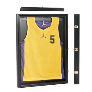 Lockable Jersey Display Cases Wall Frames Shadow Box Football Basketball Black