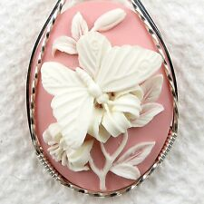 Pink White Butterfly Cameo Pendant .925 Sterling Silver Jewelry Resin
