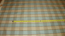 Light Teal Beige Plaid Print Upholstery Fabric Remnant  F1049