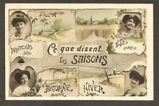 REAL-PHOTO POSTCARD:  FRENCH GREETINGS:  THE FOUR SEASONS  with  PRETTY LADIES