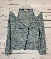 Saturday Sunday Anthropologie Women's S Small Navy Zipper Hood Cute Fall Jacket