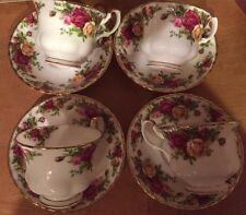 4- Royal Albert  OLD COUNTRY ROSES TEA CUPS AND SAUCERS 1962 /ENGLAND