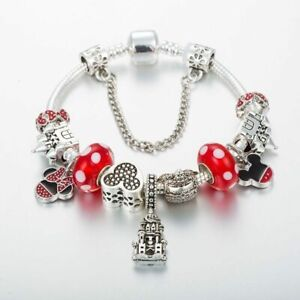 Authentic PANDORA Bracelet Silver Minnie Mickey Castle with Charms European New